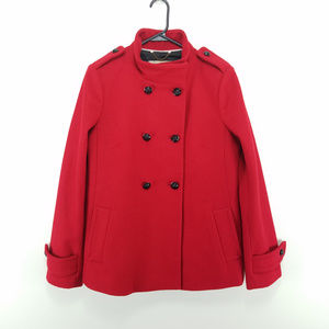Banana Republic Red Wool Pea Coat Medium